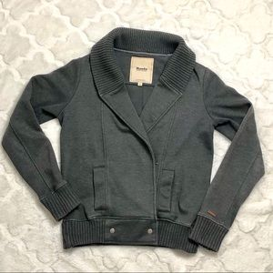 Roots Double Breasted Snaps Gray Knit Cardigan